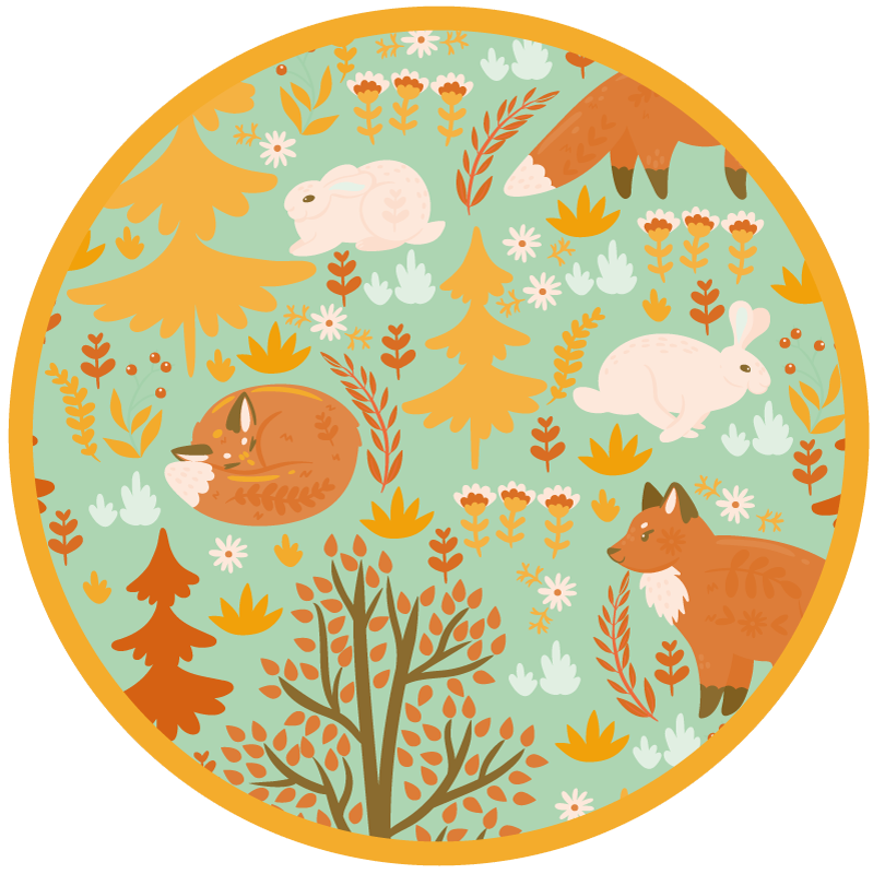 TenStickers. Wood Creatures kids vinyl carpet. This children's vinyl rug features a lovely woodland scenery with animals including a fox and rabbit. +10,000 satisfied customers.