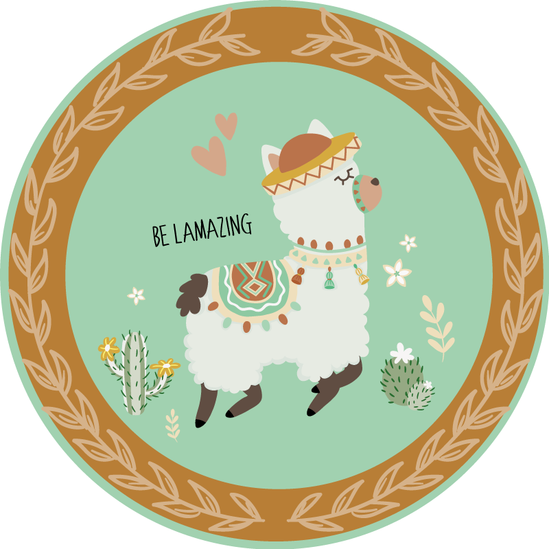 TenStickers. Be Llamazing animal vinyl mat. This cute kids vinyl rug features an adorable Peruvian Llama skipping along with the text 'be llamazing' next to it. +10,000 satisfied customers.