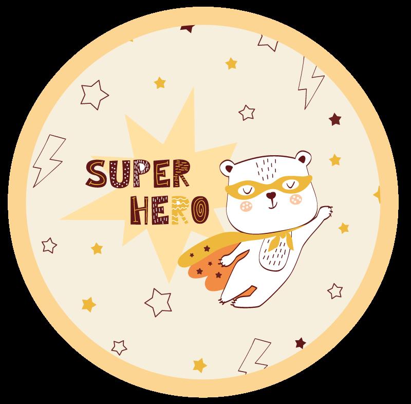 TenStickers. tapis vinyl enfant Adorable ours super-héros. Cet adorable tapis en sticker présente un ours mignon dans un costume de super-héros volant dans le ciel nocturne. Rabais disponibles. Haute qualité.