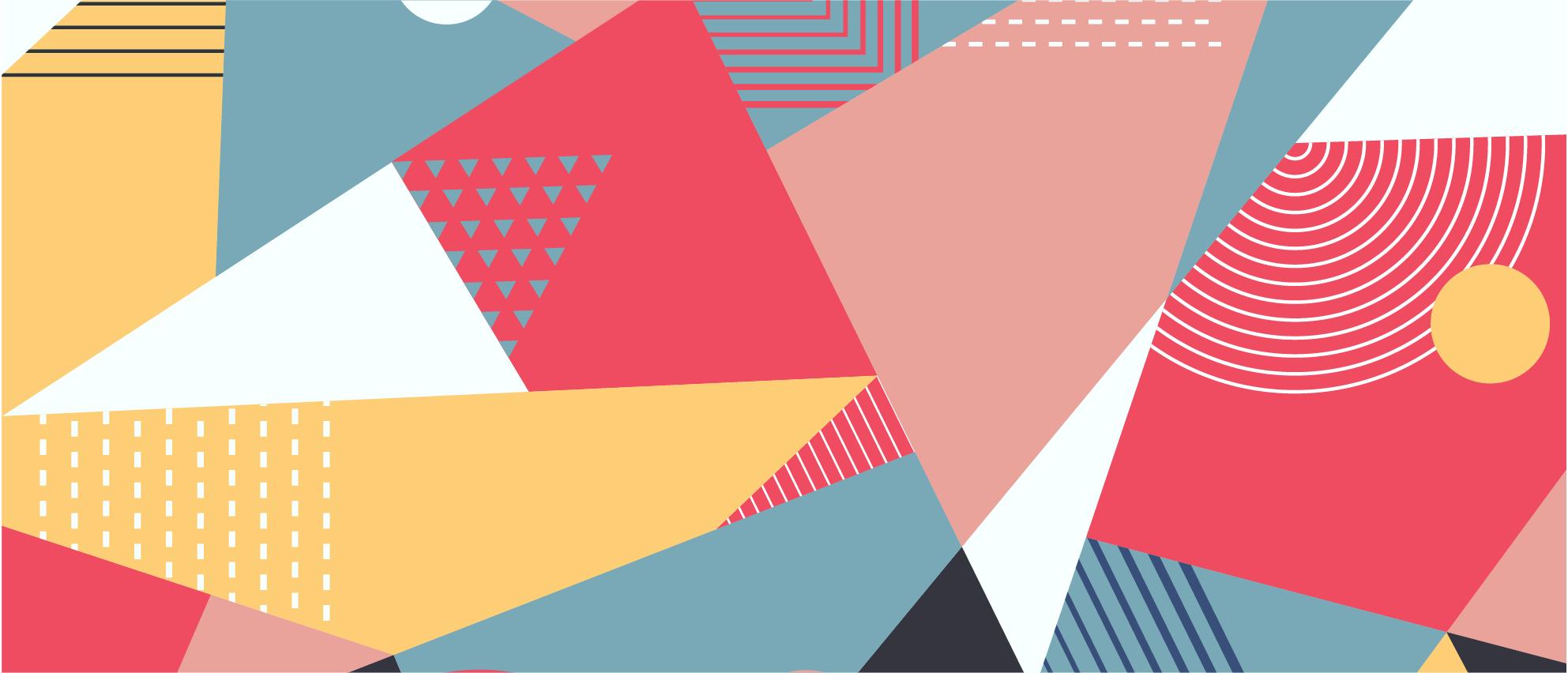 TenVinilo. Alfombra vinílica arte geométrico colorido. Este fantástico diseño moderno de alfombra vinílica moderna presenta varios triángulos y otras formas coloridas ¡Envío express!