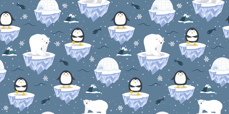 TenStickers. Urocza mata ze zwierzętami polarnymi. Ten wspaniały projekt maty dla zwierząt przedstawia wzór pingwinów i niedźwiedzi polarnych na górach lodowych w morzu.