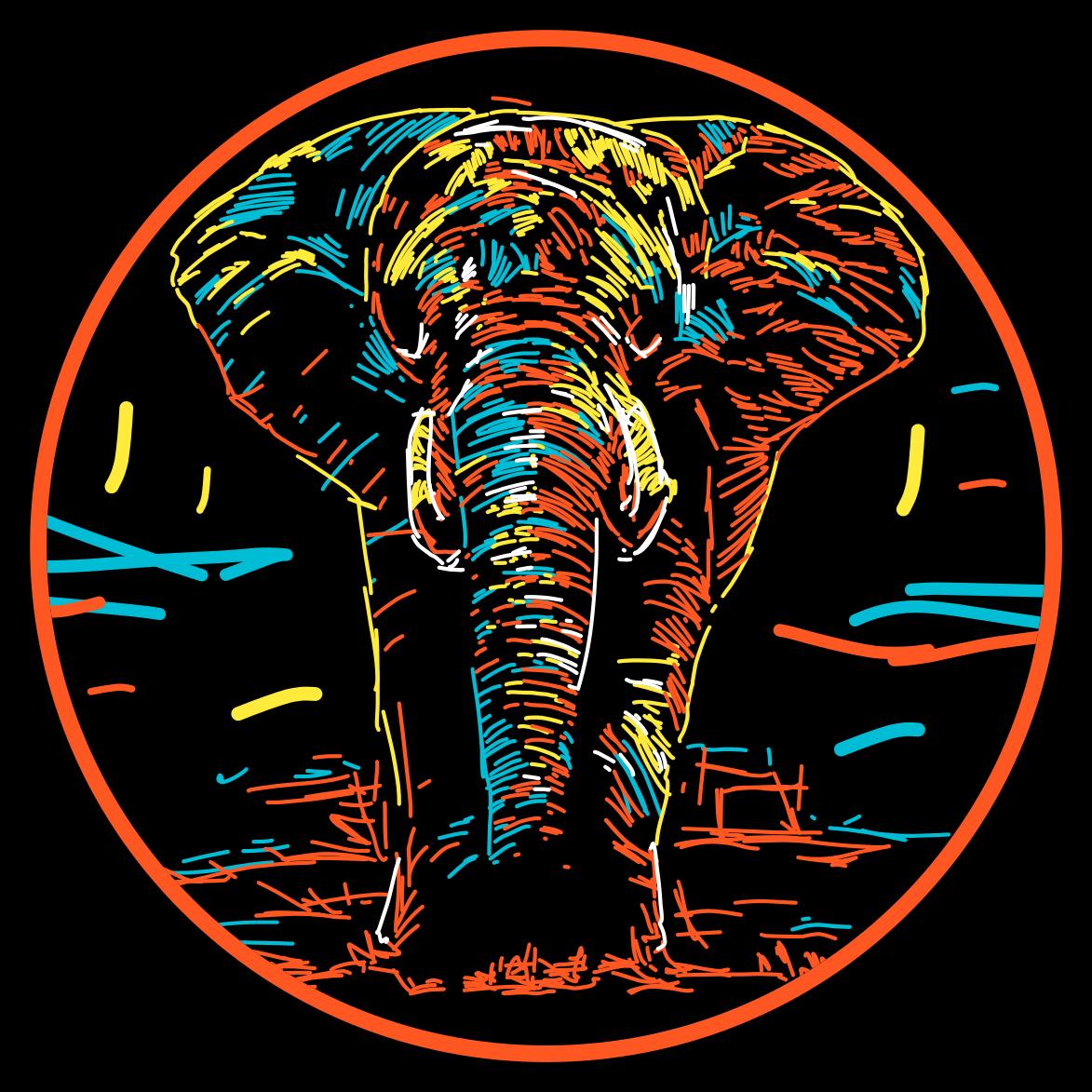 TenStickers. Dywan winylowy Kolorowy słoń. Ten dywan winylowy ze wzorem zwierzęcym przedstawia oszałamiającego słonia rysującego na czarnym tle. Zarejestruj się, aby otrzymać 10% zniżki. Wysokiej jakości winyl.