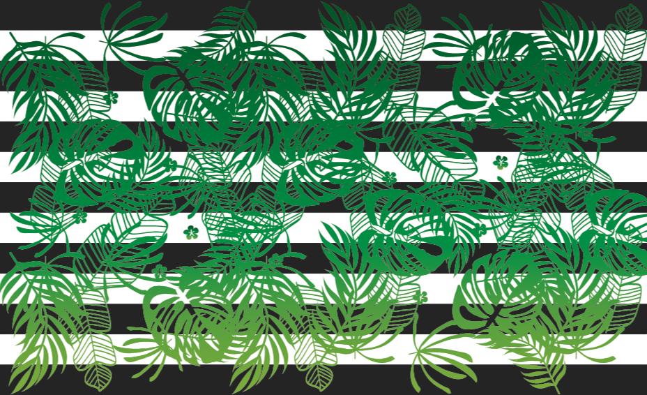 TenVinilo. Alfombra vinílica moderna monstera verde. Moderna alfombra vinílica moderna que presenta un patrón de hojas de plantas monstera verdes sobre un fondo negro a rayas