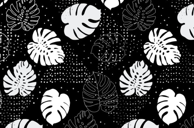 Tenstickers. Svart og hvitt monstera etterlater naturteppet. Svart og hvitt monstered blader vinylteppedesign. Det er glatt, antiallergisk og superenkelt å vedlikeholde som en vanlig gulvflate.