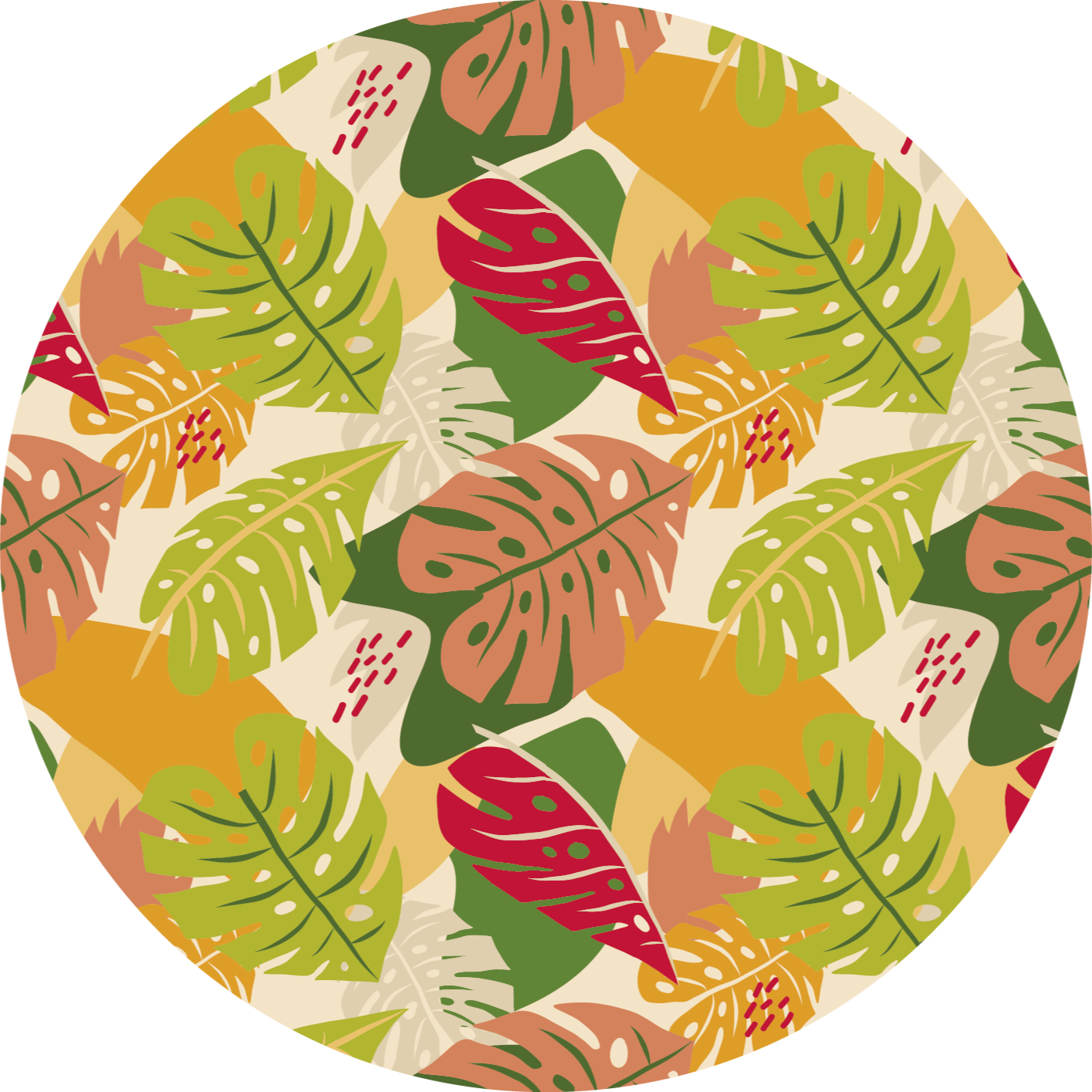 TenStickers. Covor design monstera grafic alternativ natura. Un covor rotund original din vinil care poate fi așezat pe un living ca covor din camera centrală. Conține un design colorat de frunze de monstera.