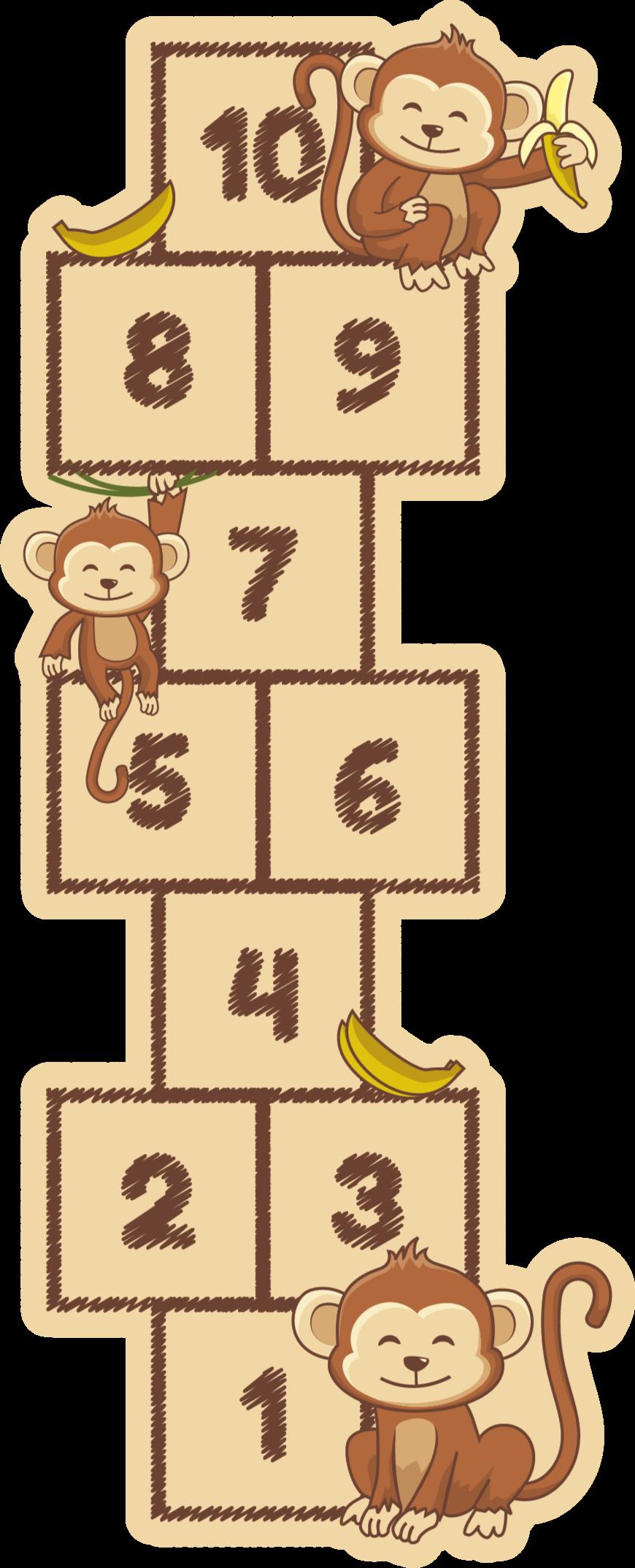 TenStickers. Covoare cu covor de maimuță. Covor de vinil pentru copii cu imprimeuri de număr de jocuri care înfățișează o coadă. Acest covor de vinil pentru copii, ar fi un spațiu interesant pentru copilul tău.