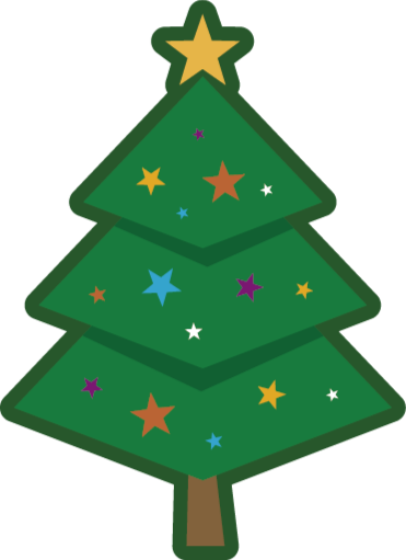 TenStickers. Cartoon Christmas Tree Vinyl Rug. The vinyl rug design features a cartoon Christmas tree decorated stars and with a large star on top. High quality materials used.