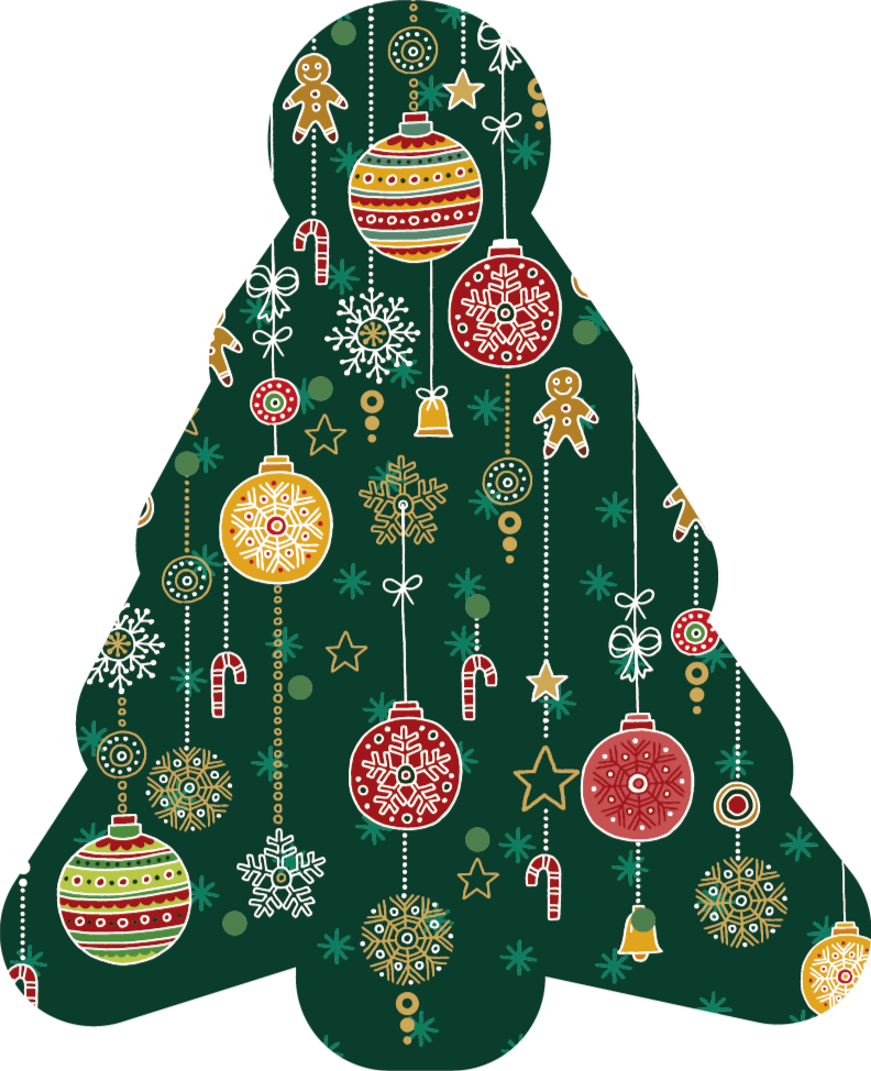 TenStickers. Hanging Christmas ornaments Christmas rug. A wonderful way to decorate your house during Christmas with this hanging Christmas ornaments vinyl rug with the shape of a Christmas tree itself.