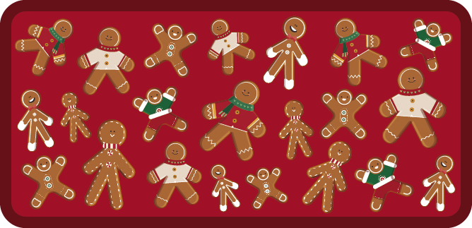 TenStickers. Gingerbread cookie floor boards Christmas rug. A collection of gingerbread cookie vinyl rug for Christmas to decorate your house on this beautiful holidays. Especially if you want to redecorate.