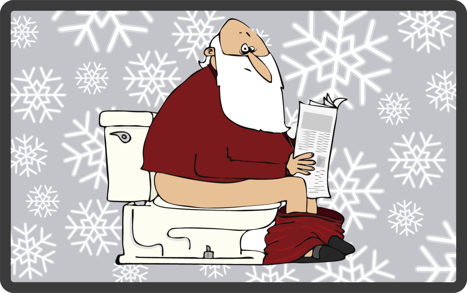 TenStickers. Santa on the toilet cartoon Christmas rug. A funny santa sitting on the toilet holding a newspaper vinyl rug with snowflakes on the background to give your bathroom an original decoration.