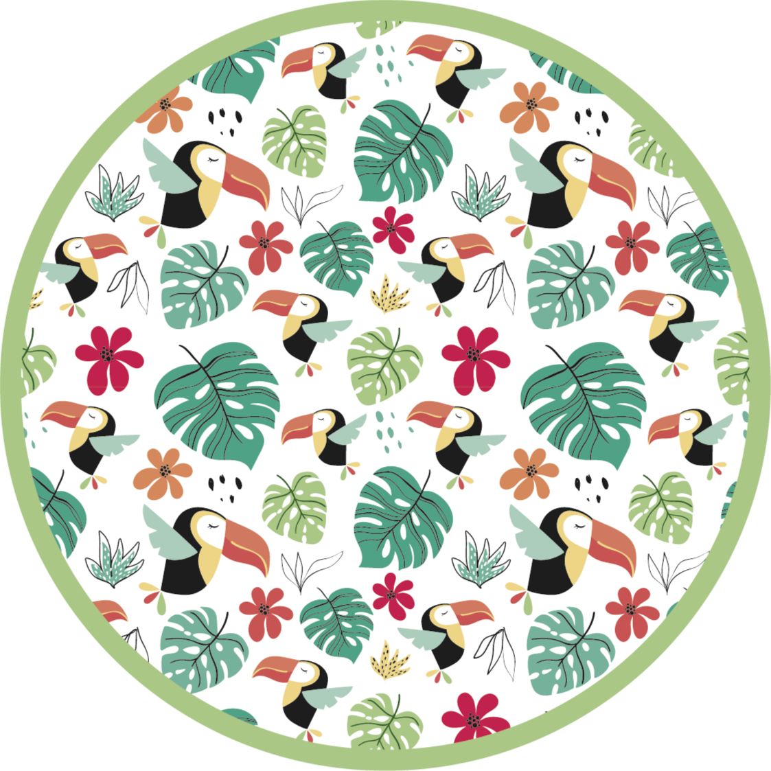 TenStickers. виниловый коврик с тропическими листьями и птицами. его виниловый коврик украшен множеством различных предметов из джунглей, включая попугаев, цветы и листья. доступны в различных размерах в соответствии с вашими потребностями.