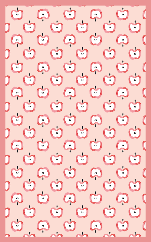 TenVinilo. Alfombra vinilo moderna manzanas rojas. Esta alfombra vinilo moderna presenta un patrón de manzanas cortadas por la mitad sobre un fondo rosa. Elige medidas ¡Envío exprés!