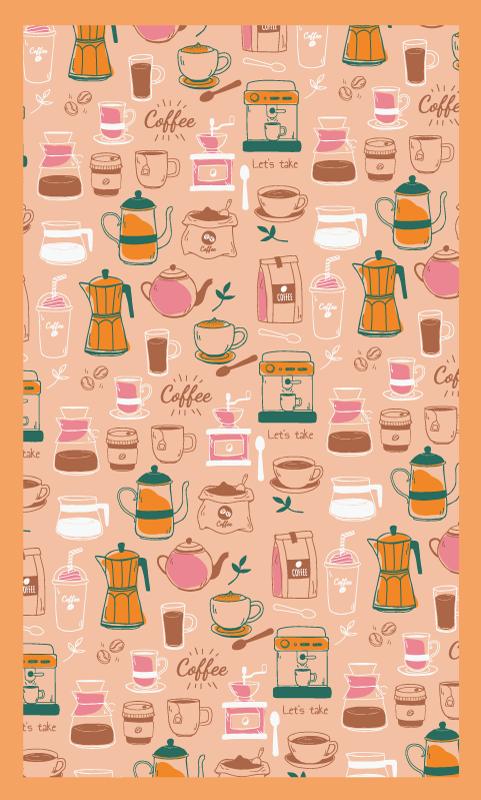 TenStickers. Dywan winylowy Ziarna kawy. Dywan winylowy z ziarnami kawy, idealny jako dekoracja Twojej kuchni. Wykonane z wysokiej jakości winylu, wysyłane prosto do Twoich drzwi.