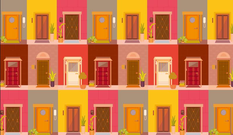 TenStickers. Uși pe podea covor covoare contemporane. Covor de vinil cu uși colorate, minunat dacă doriți să adăugați ceva culoare interiorului dvs. Produs de înaltă calitate, durabil. Livrare direct la ușa ta.