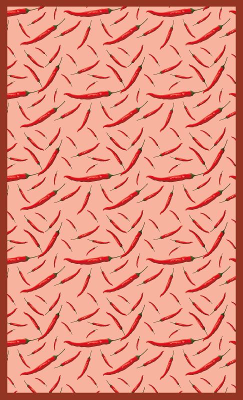 Tenstickers. Chili par paprika treeffekt vinylgulv. Denne spektakulære vinyldekket kjøkkenmatten er utstyrt med et chili peppers mønster. Den er enkel å rengjøre, sklisikker og veldig langvarig.