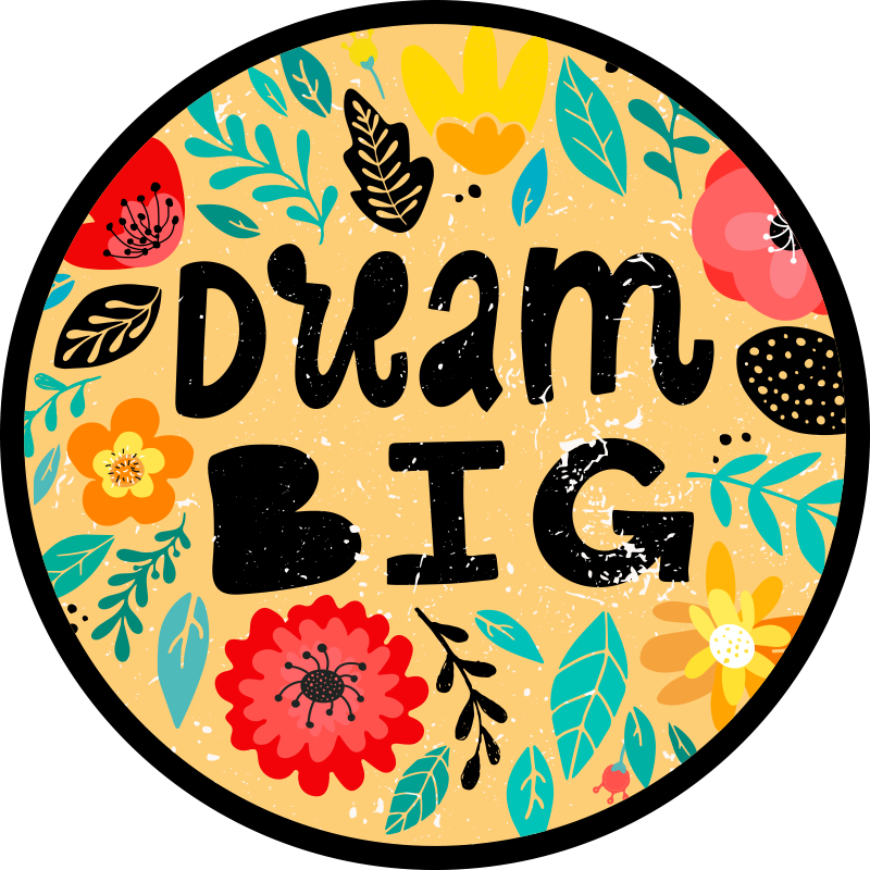 """TenStickers. Vinylteppich Text Träume groß. Ein wunderbarer motivierender Vinyl Teppich mit dem text """"traum groß"""" und bunten und schönen blättern und blumen, um Ihr zimmer zu dekorieren. Einfach zu säubern!"""