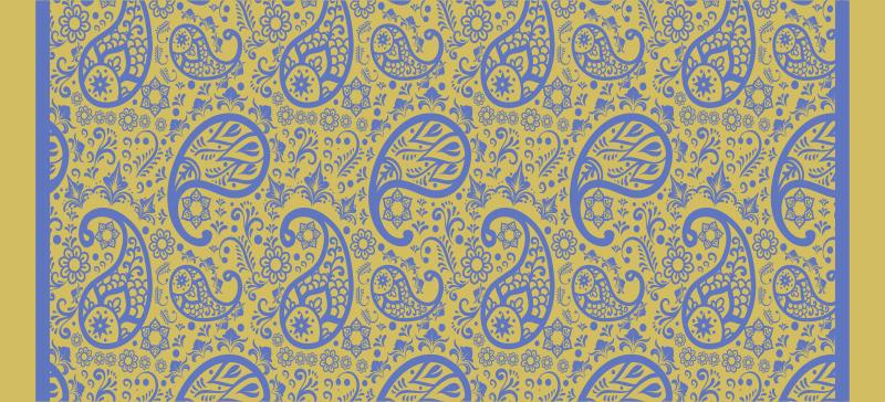 TenVinilo. Alfombra vinilo moderna paisley amarillo y azul. Esta alfombra de vinilo para habitación presenta un hermoso patrón paisley de color amarillo y azul ¡+10. 000 clientes satisfechos!