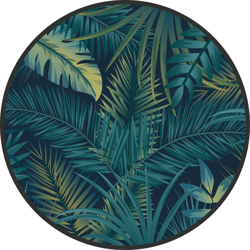 TenStickers. Tropical leaves vinyl rug. This leaf vinyl rug design features a selection of jungle leaves piled on top of each other with a dark background. High quality vinyl is used.