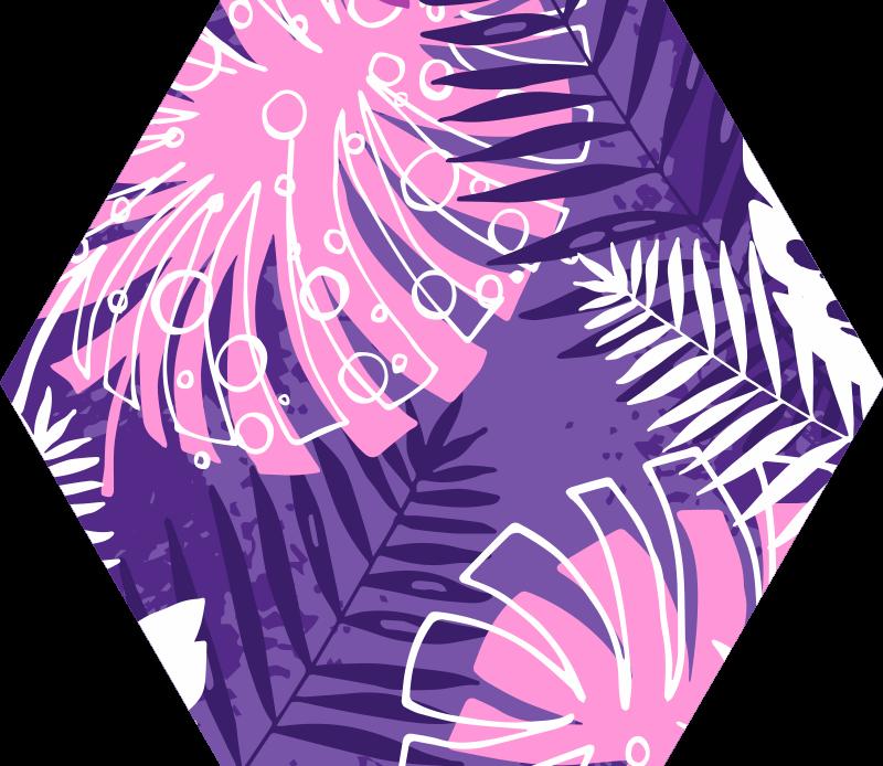 TenStickers. Natuur vinyl vloerkleed Paars jungleblad. Dit paarse vinyl vloerkleed heeft een variatie aan jungleplanten, waaronder de klassieke monsteraplant op een levendige, paarse achtergrond!