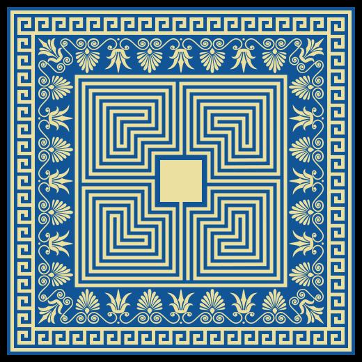 TenStickers. Dywan winylowy Greckie płytki. Grecki dywan winylowy, który ma oszałamiający grecki wzór płytek zawierający różne kształty i kwiaty. Na zamówienie.