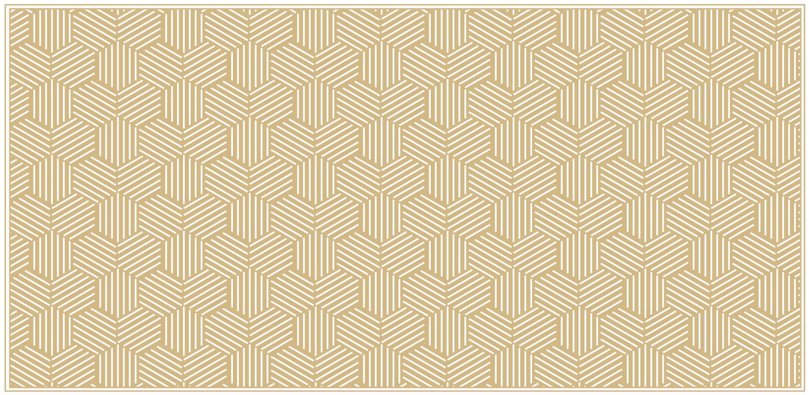TenStickers. Hexágonos com riscas revestindo tapetes geométricos. Este lindo piso de vinil de sala de estar representa hexágonos com ladrilhos de riscas. é lavável, antiderrapante e muito duradouro.