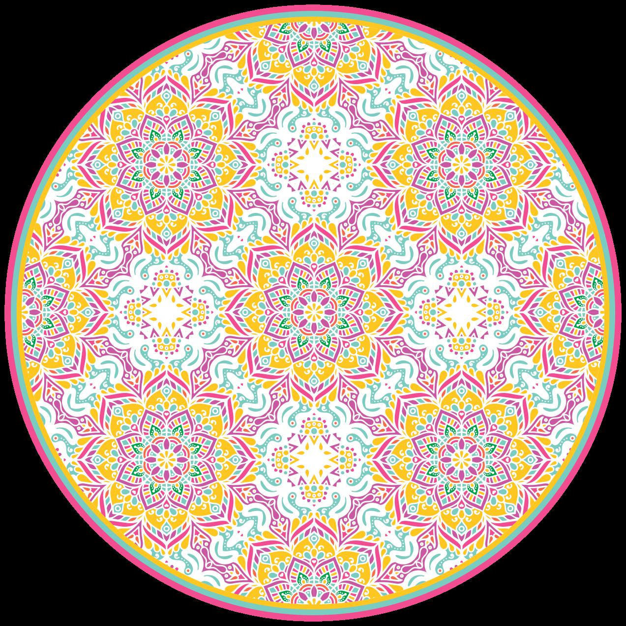 TenStickers. Dywan winylowy z kolorową mozaiką mandali. Ten dywan winylowy z płytek ma skomplikowany wzór mozaiki mandali na całym produkcie. +10 000 zadowolonych klientów.