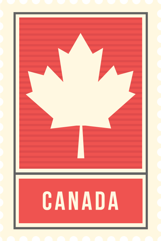 Tenstickers. Kanadensisk matta av lönnlöv. Denna landsröda vinylmatta har det klassiska kanadensiska lönnlövet med texten kanada under. Välj din storlek.