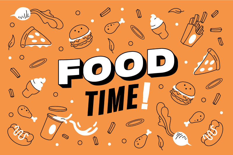 TenStickers. Food time! bespoke vinyl rugs. This kitchen vinyl rug features the text 'Food time!' surrounded by tasty snacks such as burgers, chicken, ice cream and sweets.