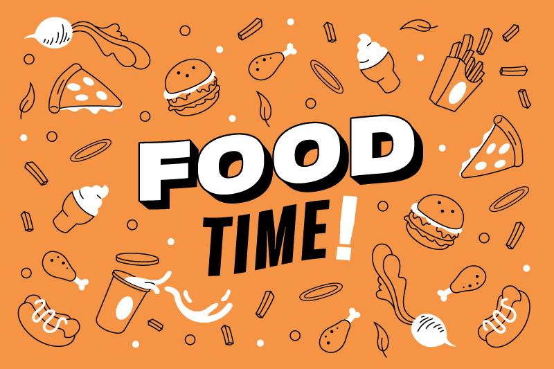 TenStickers. Etenstijd! Op maat gemaakte vinyl tapijten. Op dit food time vinyl vloerkleed is de tekst 'food time! ' omgeven door lekkere hapjes zoals hamburgers, kip, ijs en snoep.