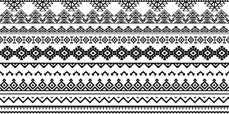 TenStickers. Tapetes geométricos com estampa étnica em preto e branco. Tapete de vinil com padrão étnico preto e branco. Decoração perfeita para cozinha ou quarto. Fácil de limpar e armazenar. Vinil de alta qualidade.