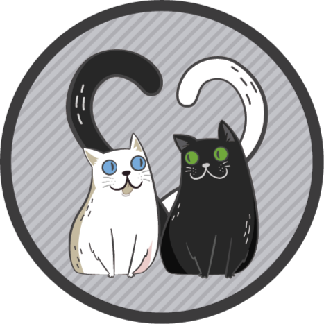 TenStickers. Vinyl rug two cats with colored eyes animal mat. This original vinyl rug is featured with two cats with coloured eyes on a grey background.  It is anti-slippery and durable.