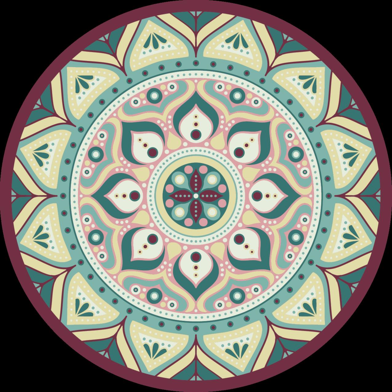 TenStickers. Covor rotund de vinil mandala multicolor mandala mat. Modele uimitoare pentru persoanele care iubesc amprentele tribale. Poate fi amplasat pe orice suprafață a podelei unei case și este potrivit și pentru alte spații