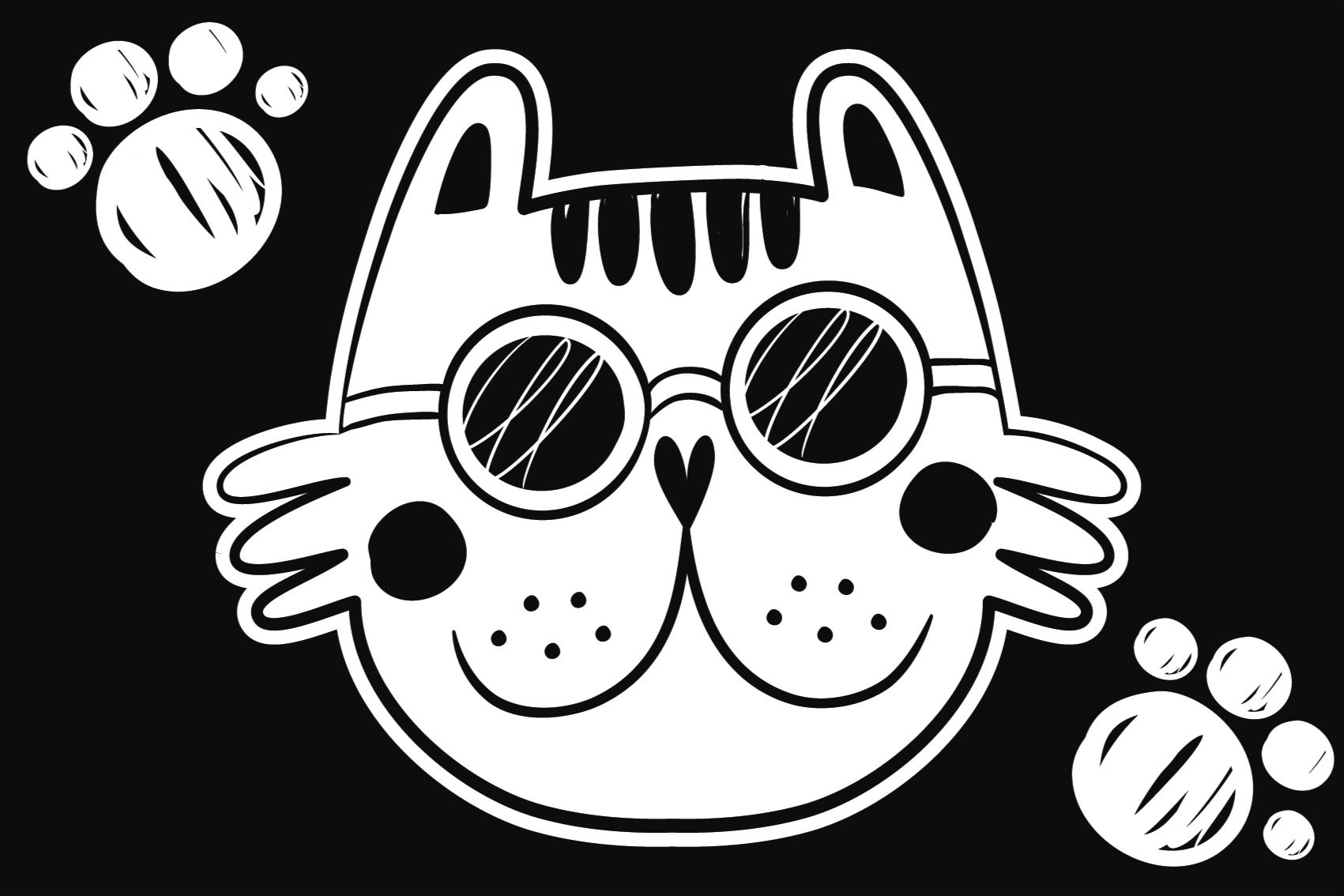 TenStickers. Dywanik winylowy biały kot. Dywan winylowy z twarzą kota na czarnym tle. Wykonana jest z wysokiej jakości winylu, dzięki czemu długo będzie cieszył oczy.
