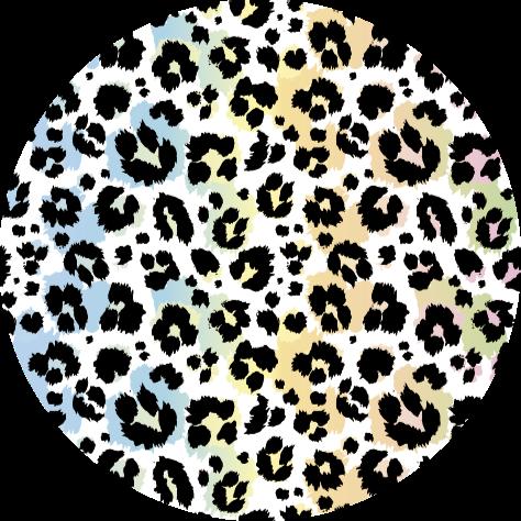 TenVinilo. Alfombra vinílica leopardo colores azul y amarillo. Alfombra vinílica redonda con estampado de leopardo, perfecta si quieres decorar tu dormitorio. Fácil de mantener y limpiar ¡Decora ahora!