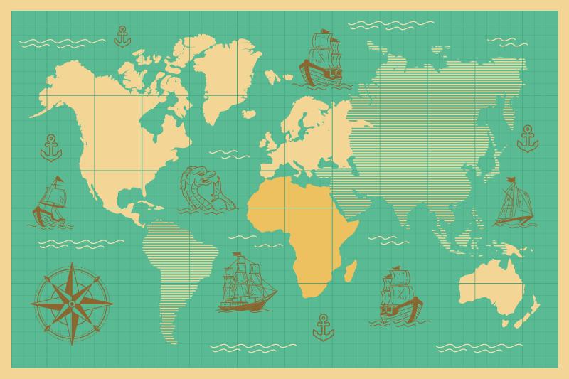 TENSTICKERS. ボートビニールラグ付き世界地図. 青い海のボートのさまざまな絵に囲まれた世界の見事な地図が特徴の世界地図ビニールラグ。カスタムメイド。