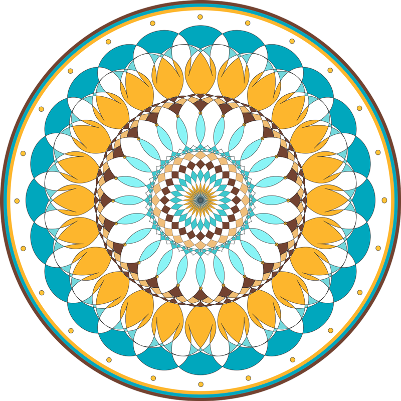 TenStickers. Mat de vinil rotund mandala. Covor rotund din vinil cu design mandala. Design minunat pentru persoanele care iubesc impresiile tribale. . Ușor de curățat și fabricat din material de cea mai bună calitate.