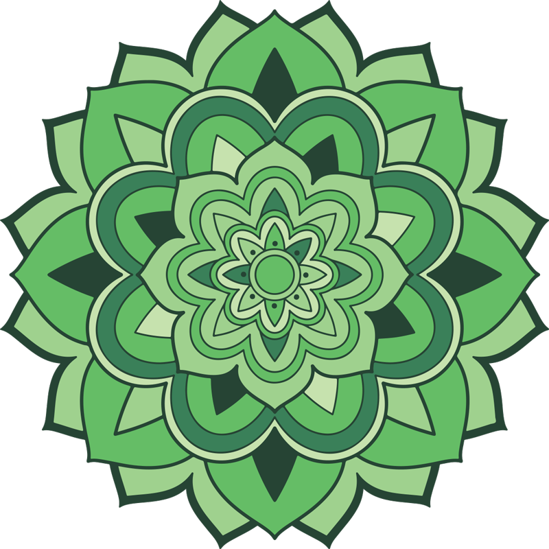TenStickers. Green mandala mandala mat. Special fantasyGreen mandala, colorful design. It is presented with the designs of the original painting, perfect for decorating your home