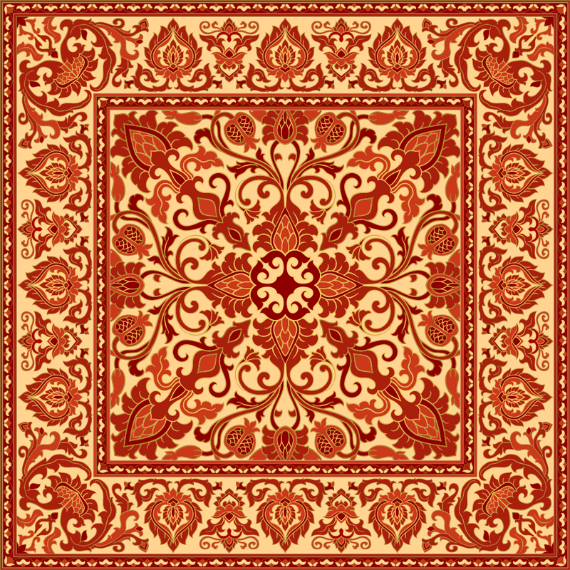 TenStickers. Red old-school pattern retro rug. If you are looking for something to bring a bit of vintage touch on your space then this red old school patterned vintage rug would be a great idea.