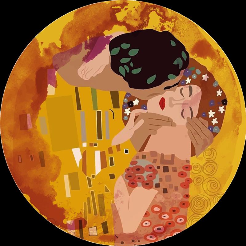 TENSTICKERS. クリムトのキスレトロラグ. ホームスペースのためのエレガントなヴィンテージビニールカーペット。クリムトのキスデザインの絵画イラストを使用したこの最高品質のビニールラグであなたのスペースを強化してください。