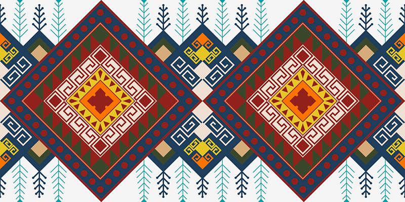TenStickers. Pardoseală din vinil cu model etnic geometric. Covor din mozaic cu model etnic geometric. Acoperiți o porțiune din spațiul podelei cu acest covor de vinil cu design complicat și vedeți efectul.