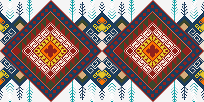 TenStickers. 几何民族图案马赛克乙烯基地板. 几何民族图案马赛克乙烯基地毯。用这种错综复杂的图案化设计的乙烯基地毯覆盖您的地板空间的一部分,并观察效果。