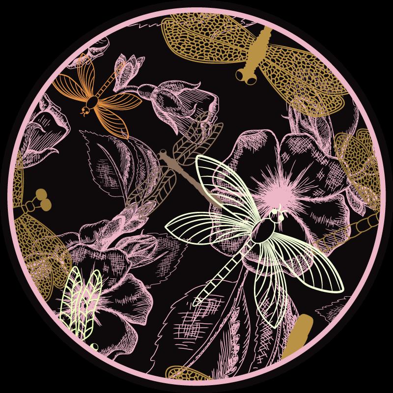TenStickers. Libelule pe covor de vinil cu flori roz. Acest design de covor de vinil cu flori prezintă numeroase libelule una peste alta și deasupra florilor. Disponibil în diferite dimensiuni.