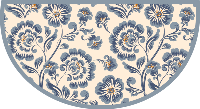 TenStickers. Blue Elegant Flowers vinyl rug. Floral vinyl rug which features a lovely pattern of vintage blue flowers of various sizes. Choose your size. Custom made to order.