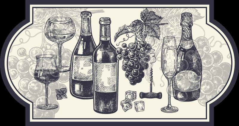 TenStickers. Dywan winylowy do kuchni Butelki wina. Winylowy dywanik kuchenny z rysunkiem różnych butelek i kieliszków wina oraz kiścią winogron. Wyjątkowo trwała materiał.