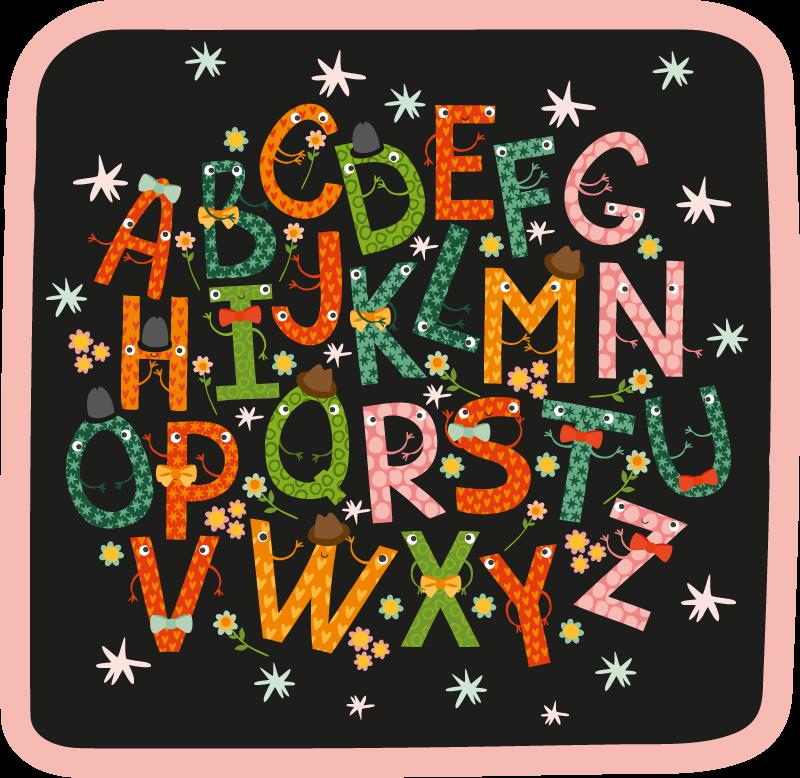 TenStickers. tapis vinyle lettres Alphabet stary noir. Ce magnifique tapis en sticker aux couleurs vives présente l'alphabet dans des tons vifs sur fond noir. Matériaux de haute qualité.