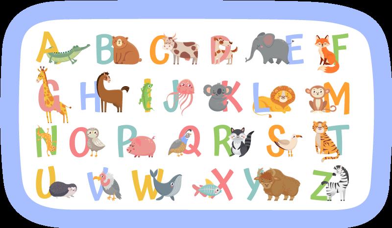 TenStickers. Dywan winylowy z alfabetem zwierząt. Ten dywanik winylowy z alfabetem i zwierzętami zawiera litery az oraz zdjęcie zwierzęcia zaczynające się od tej litery. Bardzo trwały.