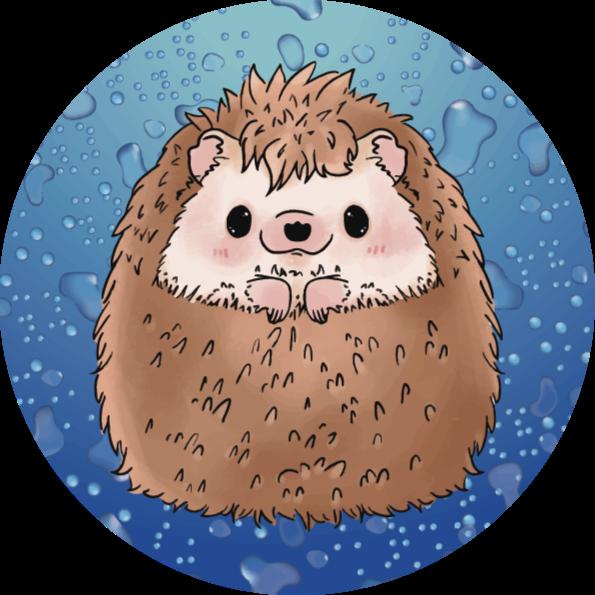 TenStickers. Tapete de animal ouriço adorável. Tapete de vinil animal que apresenta um desenho bonito de um ouriço sorrindo. Feito com os melhores materiais de qualidade. Altamente duradouro.