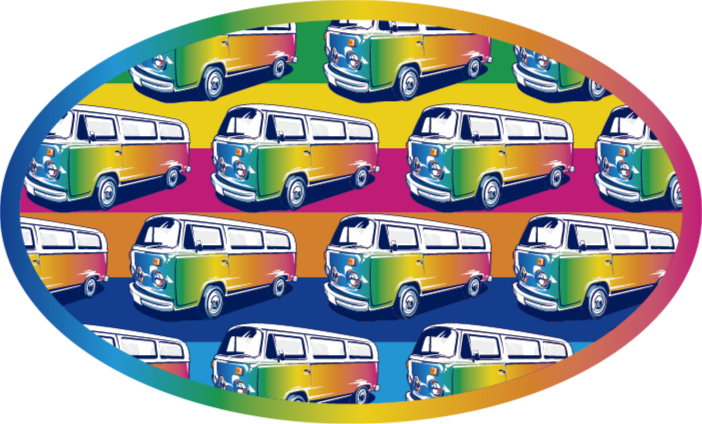 TenStickers. Retro Hippie Van teenage rugs for bedrooms. Retro vinyl rug which features a pattern of retro camper vans coloured in all the colours of the rainbow. High quality materials.