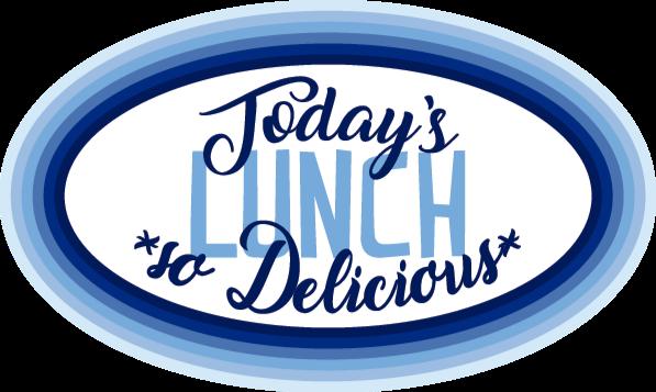 """TenStickers. Dywan winylowy Today's lunch. Na tym winylowym dywaniku z tekstem widnieje napis """"dzisiejszy obiad"""", """"tak pyszny"""". Wyjątkowo trwała materiał. Wysoka jakość."""