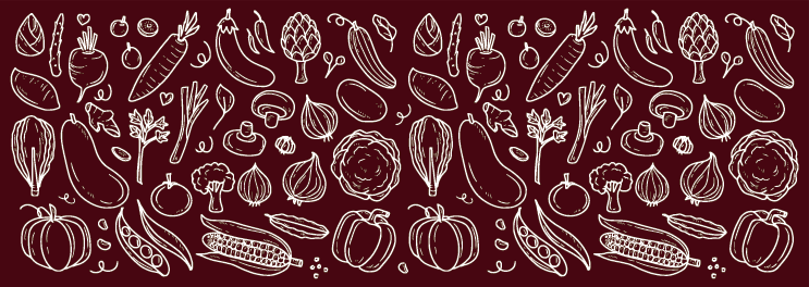 TenStickers. Red Food covered kitchen vinyl rug. Kitchen vinyl rug which features various different types of food such as corn and peppers drawn onto a red background. Anti-bubble vinyl.
